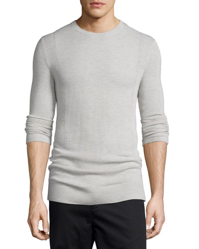 Cashmere Front-Panel Crewneck Sweater, Sand Heather