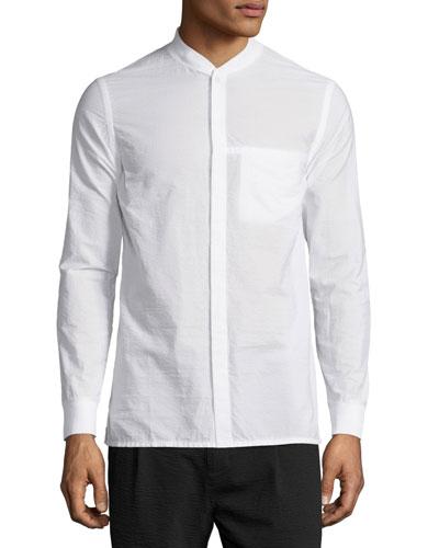 Seersucker Long-Sleeve Bomber Shirt, Optic White