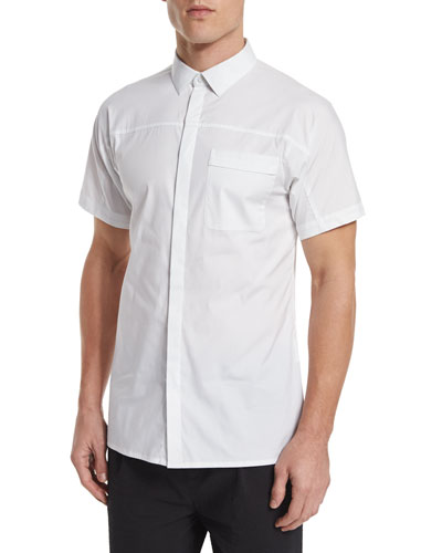 Short-Sleeve Stretch Sport Shirt, White