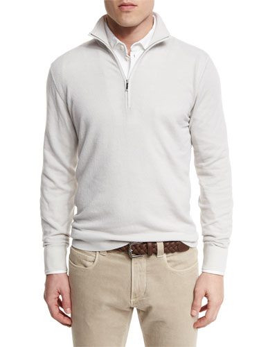Roadster Half-Zip Cashmere Sweater, White Ice