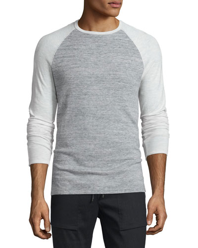 Jaspe Pique Long-Sleeve Baseball Shirt, Heathered White/Mist