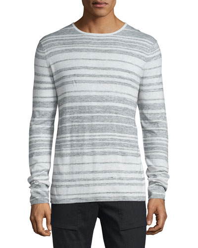 Jaspe Multi-Stripe Long-Sleeve T-Shirt, Heathered Mist/White