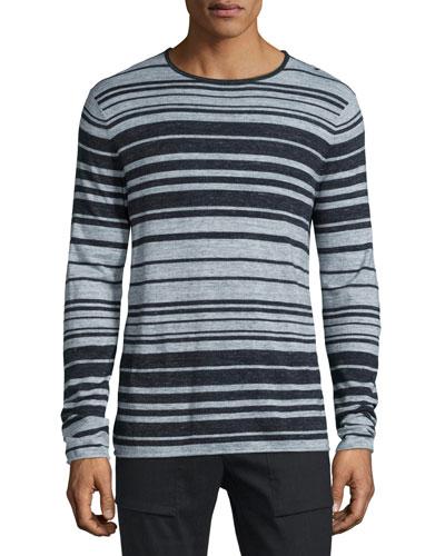 Jaspe Multi-Striped Long-Sleeve T-Shirt, Heathered Coastal