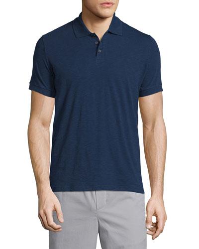 Solid Short-Sleeve Polo Shirt, Indigo