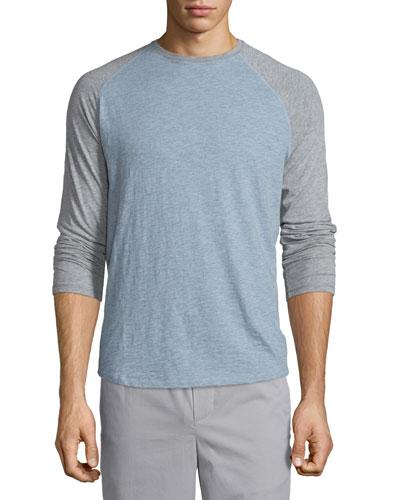 Raglan-Sleeve Baseball Shirt, Heathered Denim/Steel