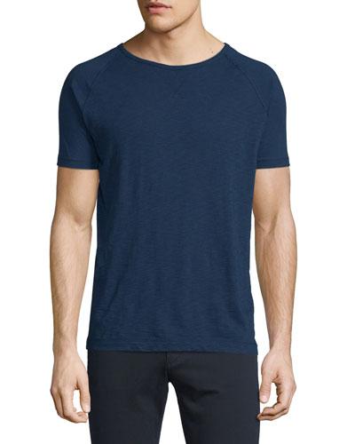 Raglan-Sleeve Crewneck Knit T-Shirt, Indigo
