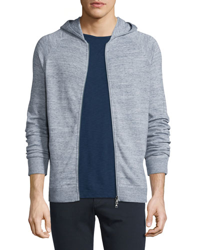 Jaspe Raglan-Sleeve Hooded Jacket, Herring