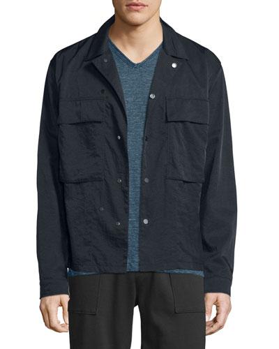 Nylon Twill Shirt Jacket, Black