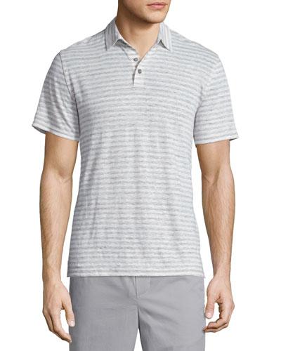 Feeder Stripe Short-Sleeve Polo Shirt, Linen White/Steel