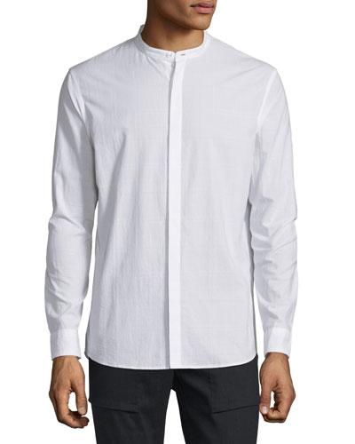 Dobby Tonal-Plaid Sport Shirt, White