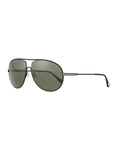 Cliff Matte Aviator Sunglasses, Black