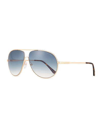 Cliff Shiny Aviator Sunglasses, Rose Gold