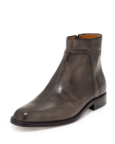 Amedeo Testoni Washed Leather Zip-Up Boot, Dark Gray
