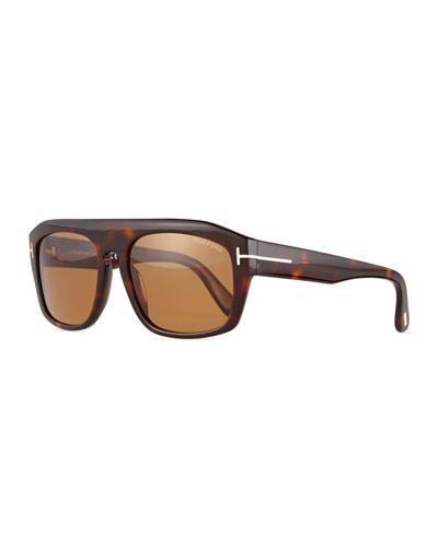 Conrad Shiny Havana Sunglasses, Brown