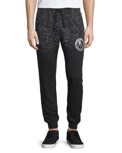 Speckled Logo-Patch Sweatpants, Black/White
