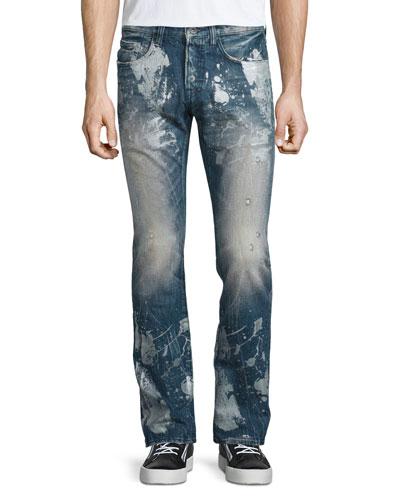 Barracuda Antique-Washed Denim Jeans, Blue