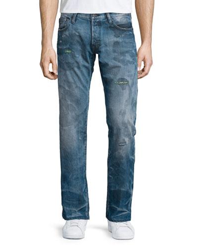 Barracuda Distressed & Faded Denim Jeans, Blue