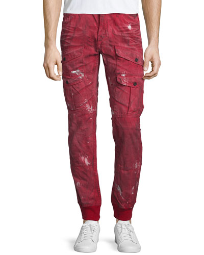 Distressed Cargo-Pocket Jogger Pants, Red