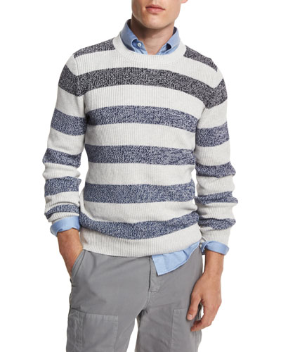 Fading-Stripe Crewneck Sweater, Fog/Blue