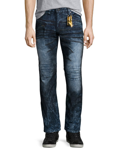 Motard Dyed Moto Jeans, Dark Blue