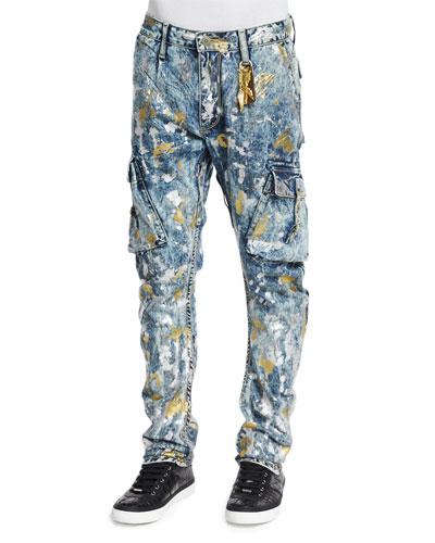 Paint-Splatter Cargo Denim Jeans, Light Blue