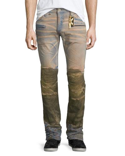 Motard Dirty-Bottom Denim Jeans, Brown