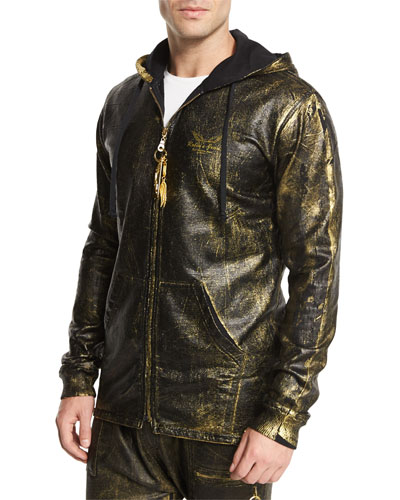 Gold-Coated Zip-Up Hoodie, Gold