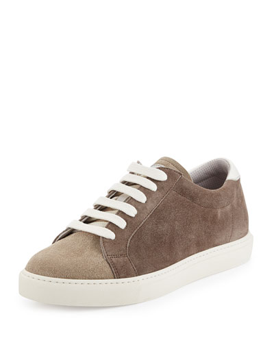 Two-Tone Suede Low-Top Sneaker, Beige
