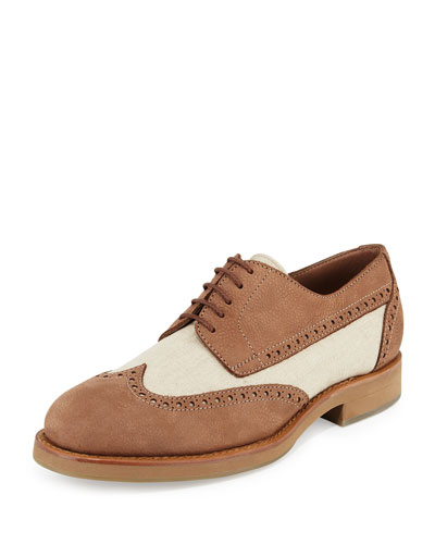 Mixed Media Wing-Tip Shoe, Beige
