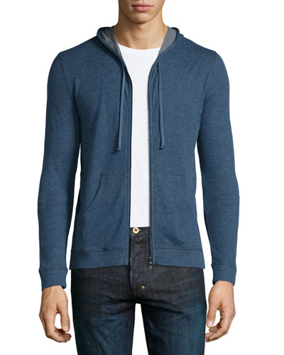 Cotton/Cashmere Zip-Up Hoodie, Blue