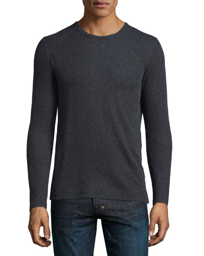 Cotton/Cashmere Crewneck Sweater, Charcoal