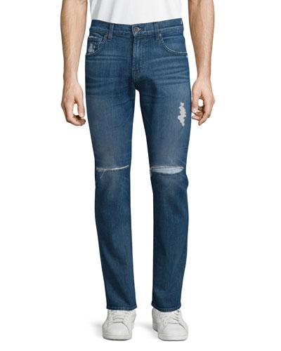 Paxtyn Destroyed Denim Jeans, Medium Blue