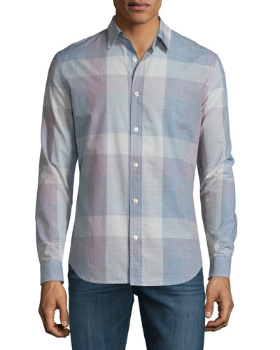 Large Plaid Long-Sleeve Sport Shirt, White