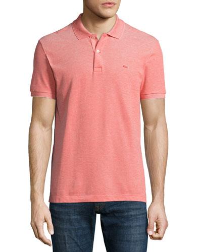 Birdseye Short-Sleeve Pique Polo Shirt, Etna Red/Flour