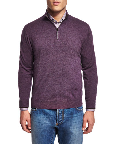 Half-Zip Cotton Pullover Sweater, Purple