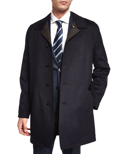 Reversible Button-Down Car Coat, Navy/Brown