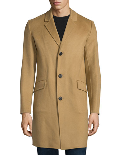 Whyte Reish Button-Down Cashmere Coat, Camel