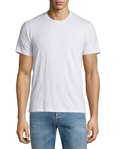 Crewneck Short-Sleeve Linen T-Shirt, White