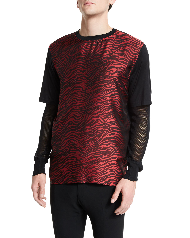 Jacquard Zebra-Print Short-Sleeve T-Shirt, Multi
