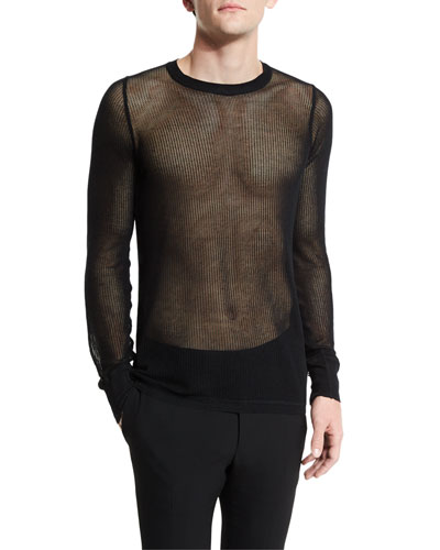Netted Long-Sleeve Crewneck Sweater, Black