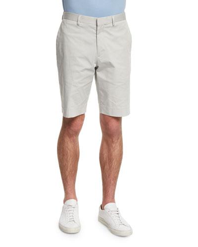 Beck Flat-Front Stretch-Twill Shorts, Whitestone