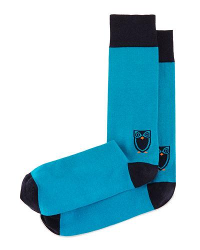Owl Printed Socks, Teal