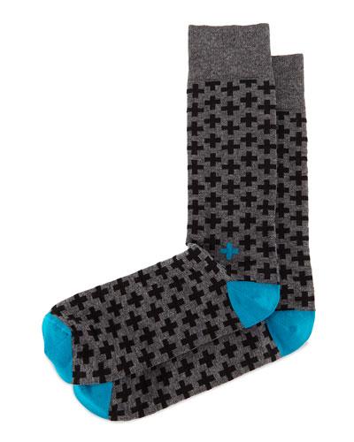 Cross-Print Knit Socks, Charcoal/Black