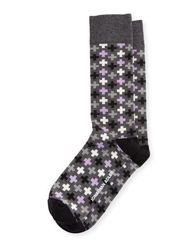 Multicolored Cross-Print Socks