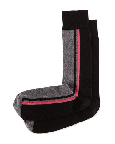 Side-Stripe Knit Socks, Black/Charcoal