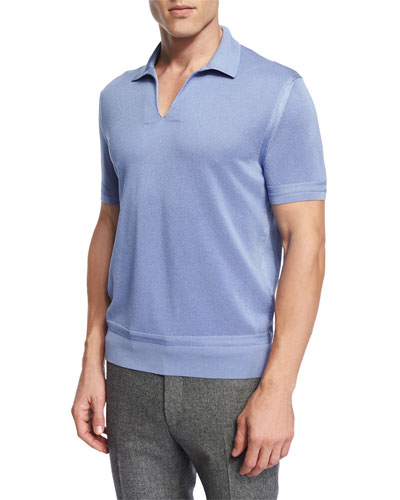 Textured Johnny Collar Short Sleeve Shirt, Light Blue