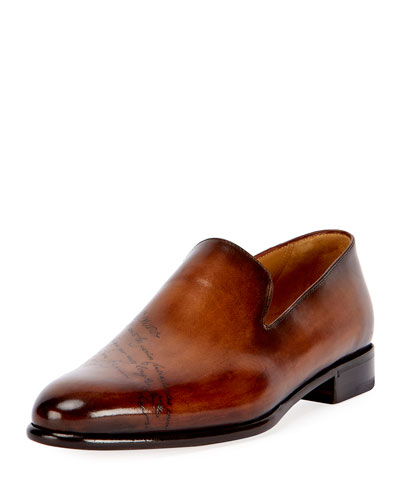 Scritto Leather Slip-On Dress Shoe, Tobacco