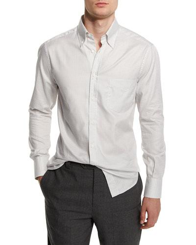 Basic-Fit Small-Check Sport Shirt, Gray