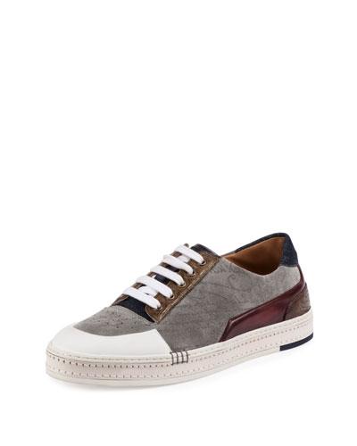 Playtime Embossed Suede Low-Top Sneaker, Gray