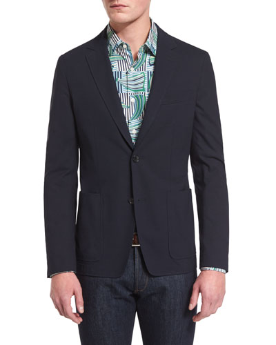 Textured Two-Button Cotton Jacket, Navy